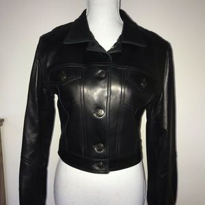🎁Bebe Black Soft Leather Jacket. Btn frt 2 pkts 4